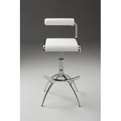Pangle Adjustable Height Bar Stool (Set of 2) Color: White