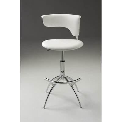Pangburn Adjustable Height Bar Stool (Set of 2) Color: White
