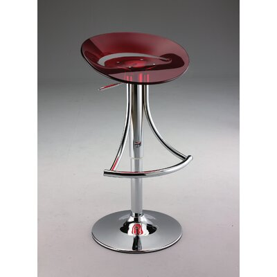 Adjustable Height Bar Stool Upholstery: Red