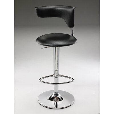 Adjustable Height Bar Stool Upholstery: Dark Brown