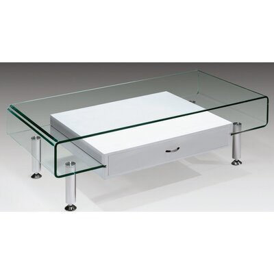 Glass Coffee Table Color: White