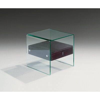 Bent Glass End Table Color: Black