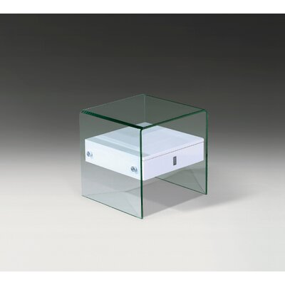 Bent Glass End Table Finish: White