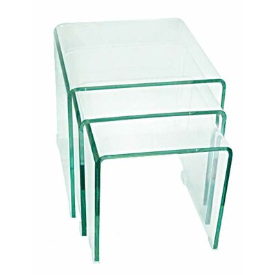 Coffee Table with Nested Stools Finish: Clear