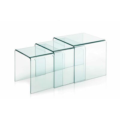 Coffee Table with Nested Stools Finish: Extra Clear