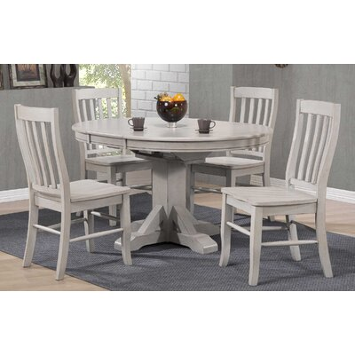 Rutledge Pedestal Dining Table with Butterfly Leaf Finish: Gray