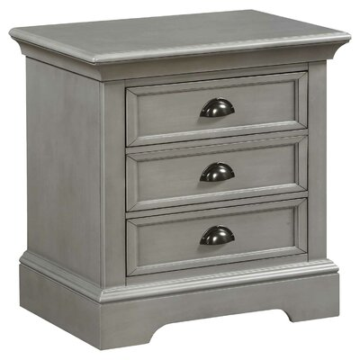 Ardie 3 Drawer Nightstand Color: Gray