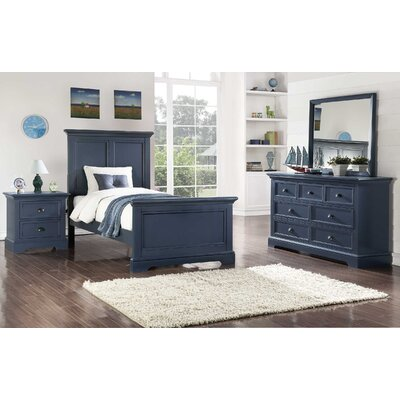 Ardie Wood Panel Bed Finish: Blue, Size: Twin
