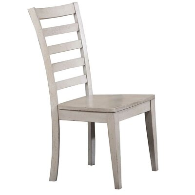 Rutledge Ladderback Solid Wood Dining Chair (Set of 2) Color: Gray