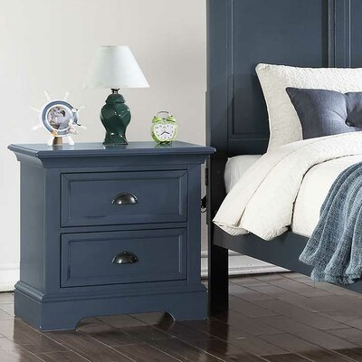 Ardie 2 Drawer Nightstand Color: Blue