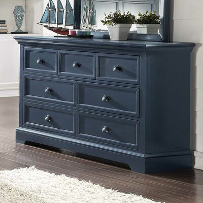 Ardie 7 Drawer Youth Dresser Color: Blue