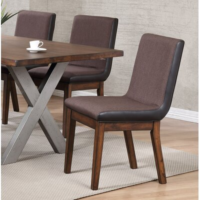 Natick Cushioned Back Solid Wood Upholstered Dining Chair (Set of 2)