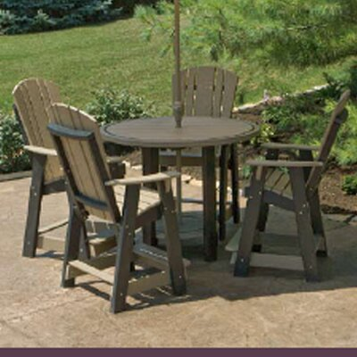5 Piece Dining Table Set Color: Weathered Wood