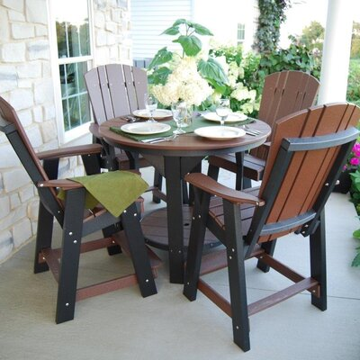 5 Piece Dining Table Set Color: Tudor Brown