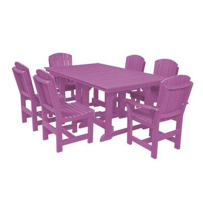 Heritage 7 Piece Dining Set Finish: Purple