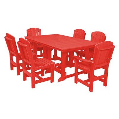 Heritage 7 Piece Dining Set Finish: Bright Red