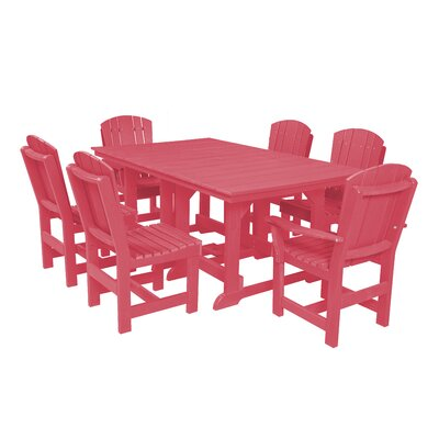 Heritage 7 Piece Dining Set Finish: Pink