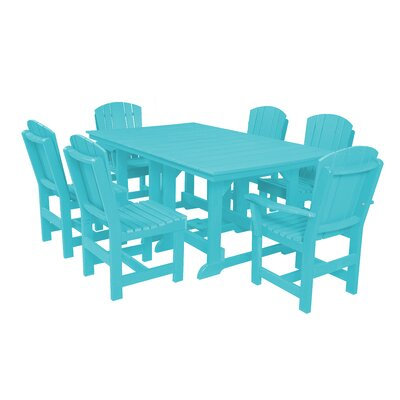 Heritage 7 Piece Dining Set Finish: Aruba Blue
