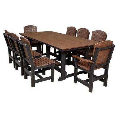 Heritage 9 Piece Dining Set Color: Tudor Brown/Black
