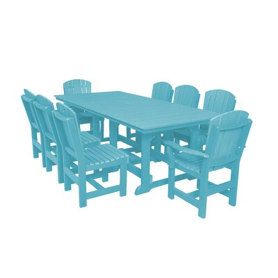 Heritage 9 Piece Dining Set Color: Aruba Blue