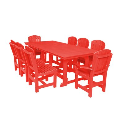 Heritage 9 Piece Dining Set Color: Bright Red