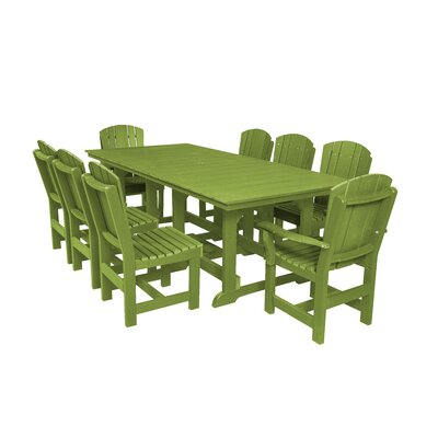 Heritage 9 Piece Dining Set Color: Lime Green