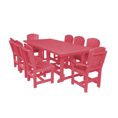 Heritage 9 Piece Dining Set Color: Pink