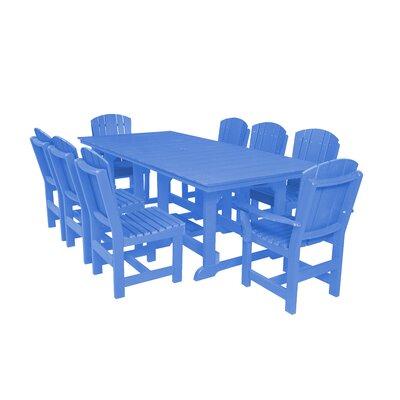 Heritage 9 Piece Dining Set Color: Blue
