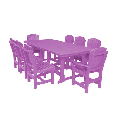 Heritage 9 Piece Dining Set Color: Purple