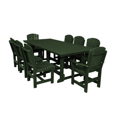 Heritage 9 Piece Dining Set Color: Turf Green