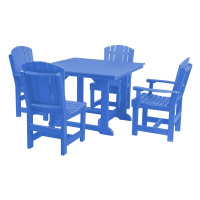 Heritage 5 Piece Dining Set Finish: Blue