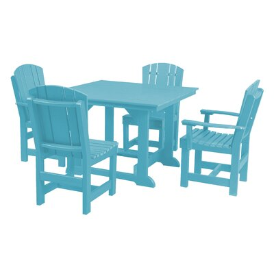 Heritage 5 Piece Dining Set Finish: Aruba Blue