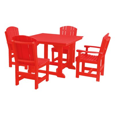 Heritage 5 Piece Dining Set Finish: Bright Red