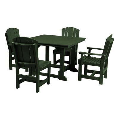 Heritage 5 Piece Dining Set Finish: Turf Green
