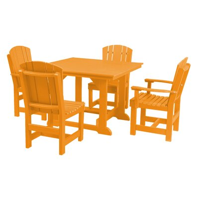 Heritage 5 Piece Dining Set Finish: Bright Orange