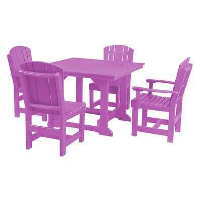 Heritage 5 Piece Dining Set Finish: Purple