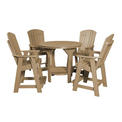 5 Piece Dining Table Set Color: Weathered Wood/Black