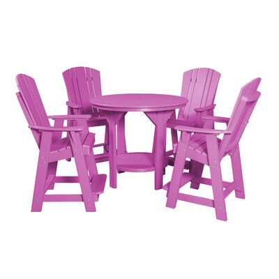 5 Piece Dining Table Set Color: Purple
