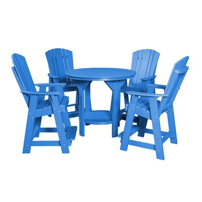 5 Piece Dining Table Set Color: Blue