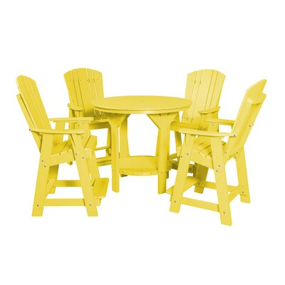 5 Piece Dining Table Set Color: Lemon Yellow
