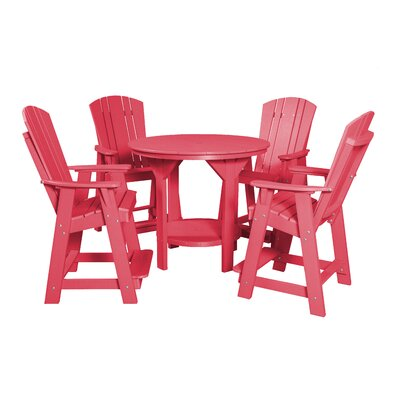 5 Piece Dining Table Set Color: Pink