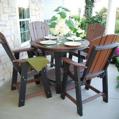 5 Piece Dining Table Set Color: Tudor Brown/Black