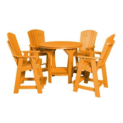 5 Piece Dining Table Set Color: Bright Orange