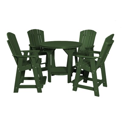 5 Piece Dining Table Set Color: Turf Green