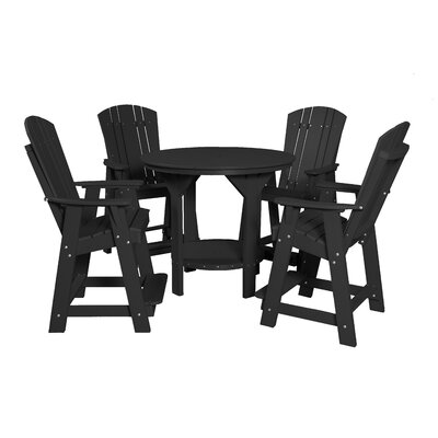 5 Piece Dining Table Set Color: Black