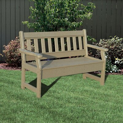 Little Cottage Company Poly Lumber Garden Bench - Color: Weathered Wood/Black