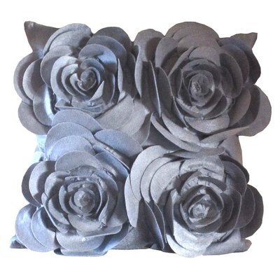 Rose Petals Throw Pillow (Set of 2) Color: Gray