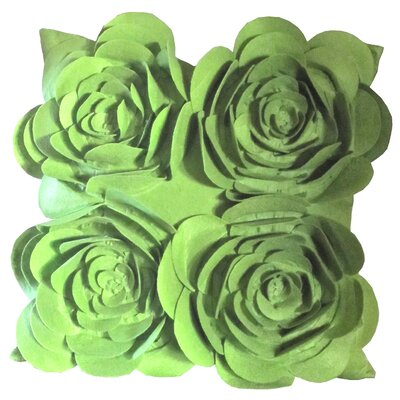 Rose Petals Throw Pillow (Set of 2) Color: Green
