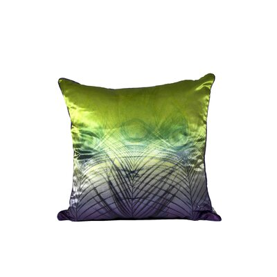 Peacock Satin Throw Pillow (Set of 2) Color: Lime and Purple