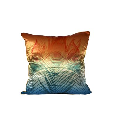 Peacock Satin Throw Pillow (Set of 2) Color: Orange and Green